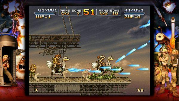 ※1『メタルスラッグ』シリーズ:SNK(現・SNKプレイモア)が制作してきた横スクロールACT。多彩な銃器やボム、タイトルにもなっている「メタルスラッグ」という小型戦車を使ってゲリラやゾンビ、宇宙人などと戦っていく。豊富なアニメーションパターンが用意されたキャラクターや緻密に描かれた背景、テキストを使わずキャラクターの動きだけでストーリーを表現する演出など、非常に高度なドット絵技術を称賛する人も多い。(画像は『メタルスラッグ3』、PlayStation Storeより)