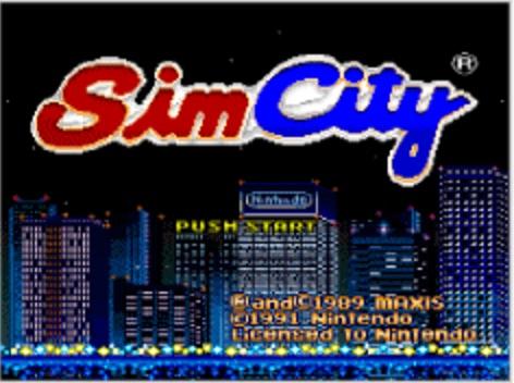 シムシティー(1991年4月26日発売/SLG/任天堂) (※画像はWiiバーチャルコンソール版です。任天堂ホームページより)