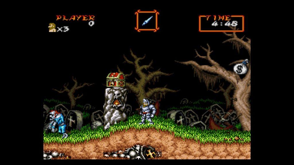 超魔界村(1991年10月4日/ACT/カプコン) (※画像はWiiUバーチャルコンソール版です。任天堂ホームページより)