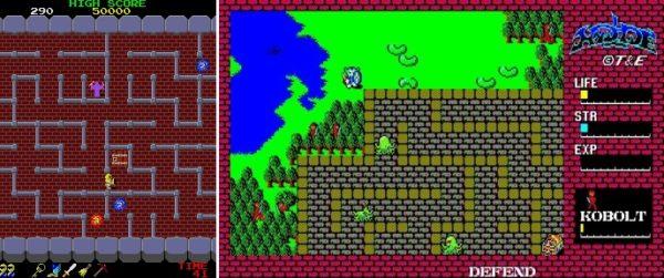 左:『ドルアーガの塔』 右:『ハイドライド』 (画像はそれぞれ公式サイト、Project EGGより)